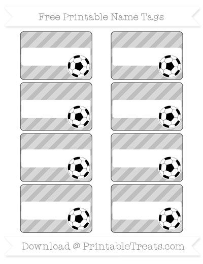 Free Pastel Light Grey Diagonal Striped Soccer Name Tags