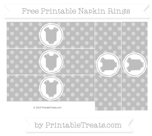 Free Pastel Light Grey Dotted Pattern Baby Onesie Napkin Rings