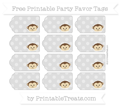 Free Pastel Light Grey Dotted Pattern Boy Monkey Party Favor Tags