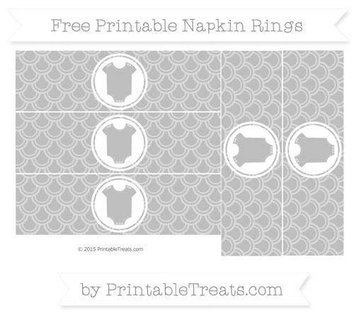 Free Pastel Light Grey Fish Scale Pattern Baby Onesie Napkin Rings