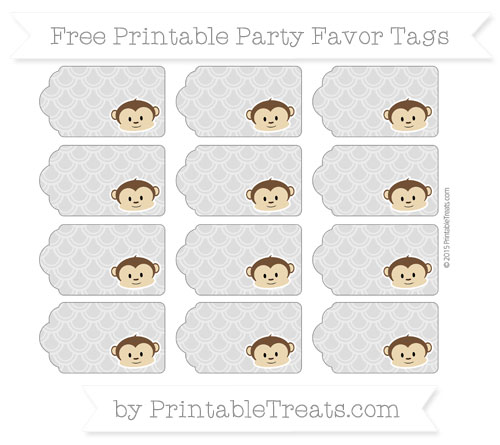 Free Pastel Light Grey Fish Scale Pattern Boy Monkey Party Favor Tags