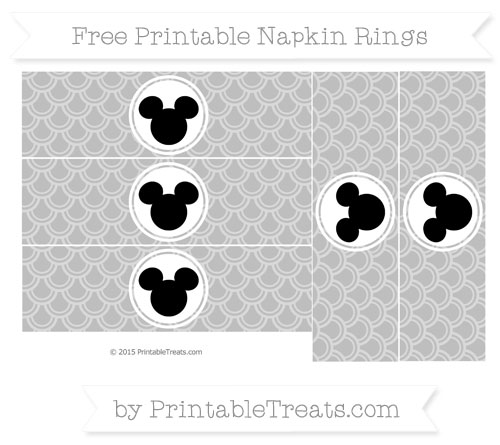 Free Pastel Light Grey Fish Scale Pattern Mickey Mouse Napkin Rings