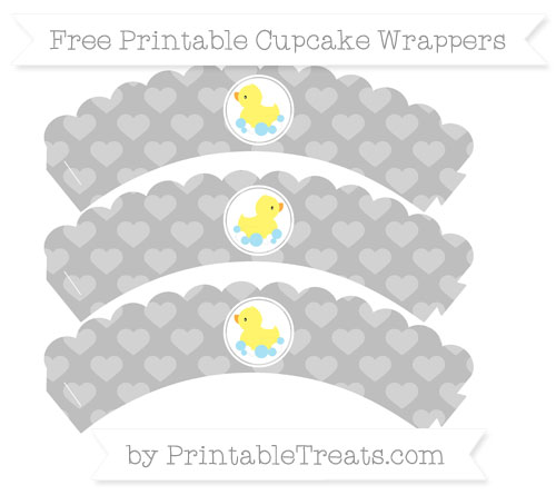 Free Pastel Light Grey Heart Pattern Baby Duck Scalloped Cupcake Wrappers