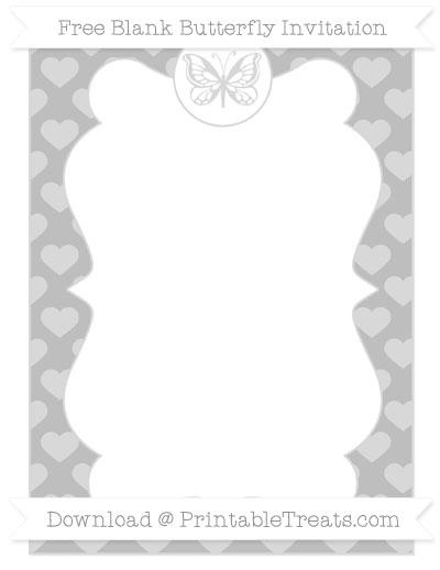 Free Pastel Light Grey Heart Pattern Blank Butterfly Invitation