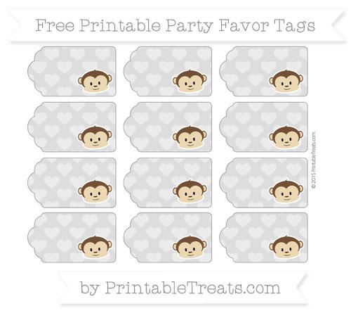 Free Pastel Light Grey Heart Pattern Boy Monkey Party Favor Tags
