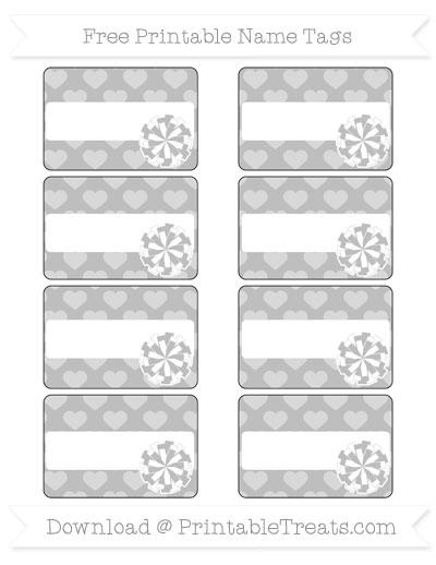 Free Pastel Light Grey Heart Pattern Cheer Pom Pom Tags