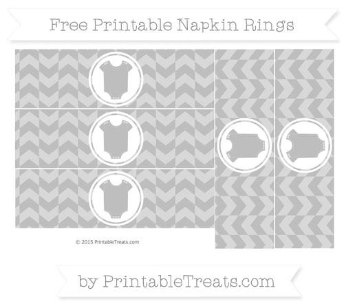 Free Pastel Light Grey Herringbone Pattern Baby Onesie Napkin Rings