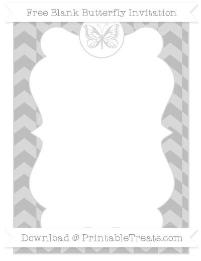 Free Pastel Light Grey Herringbone Pattern Blank Butterfly Invitation