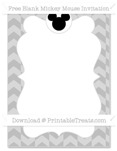 Free Pastel Light Grey Herringbone Pattern Blank Mickey Mouse Invitation