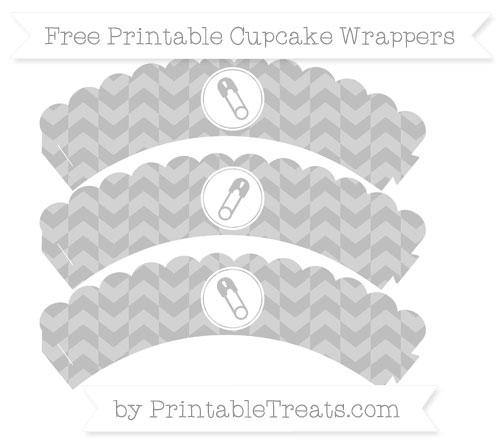 Free Pastel Light Grey Herringbone Pattern Diaper Pin Scalloped Cupcake Wrappers