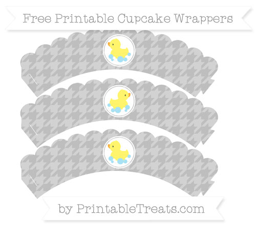 Free Pastel Light Grey Houndstooth Pattern Baby Duck Scalloped Cupcake Wrappers