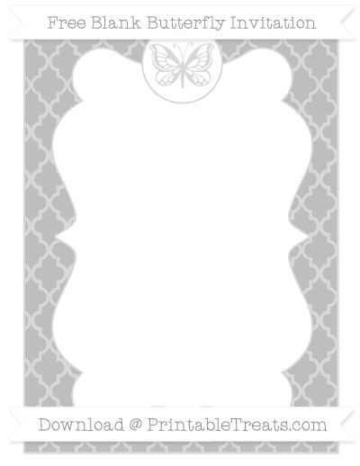 Free Pastel Light Grey Moroccan Tile Blank Butterfly Invitation