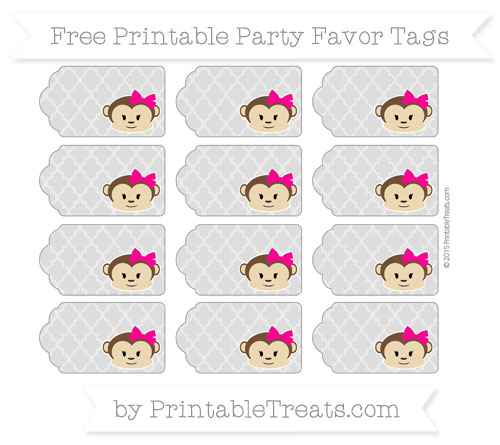Free Pastel Light Grey Moroccan Tile Girl Monkey Party Favor Tags