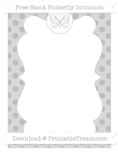 Free Pastel Light Grey Polka Dot Blank Butterfly Invitation