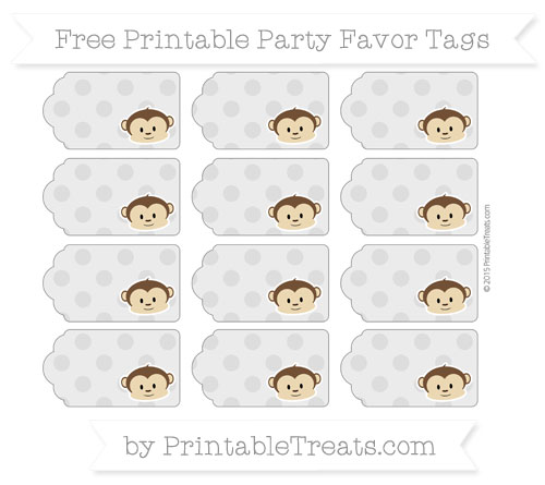 Free Pastel Light Grey Polka Dot Boy Monkey Party Favor Tags