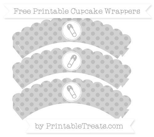 Free Pastel Light Grey Polka Dot Diaper Pin Scalloped Cupcake Wrappers