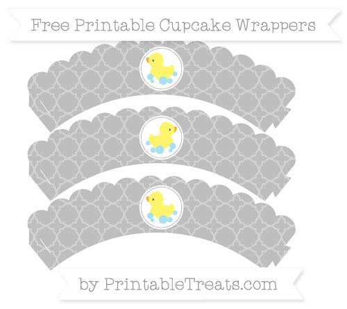Free Pastel Light Grey Quatrefoil Pattern Baby Duck Scalloped Cupcake Wrappers