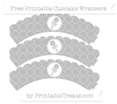 Free Pastel Light Grey Quatrefoil Pattern Baby Rattle Scalloped Cupcake Wrappers