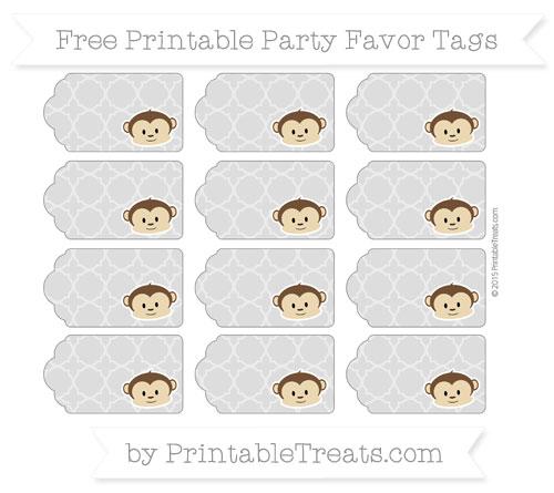 Free Pastel Light Grey Quatrefoil Pattern Boy Monkey Party Favor Tags