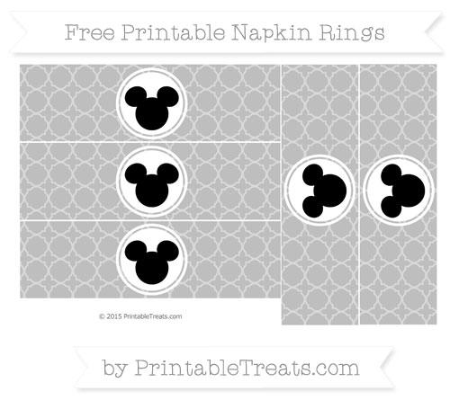 Free Pastel Light Grey Quatrefoil Pattern Mickey Mouse Napkin Rings
