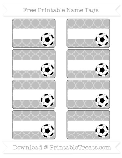 Free Pastel Light Grey Quatrefoil Pattern Soccer Name Tags