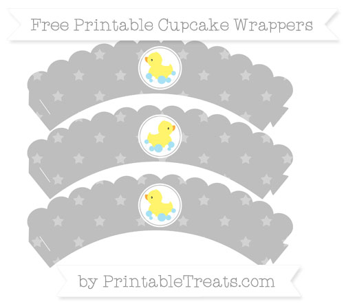 Free Pastel Light Grey Star Pattern Baby Duck Scalloped Cupcake Wrappers