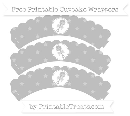 Free Pastel Light Grey Star Pattern Baby Rattle Scalloped Cupcake Wrappers
