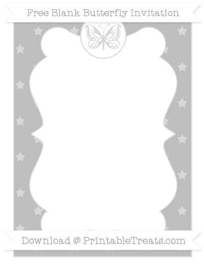 Free Pastel Light Grey Star Pattern Blank Butterfly Invitation