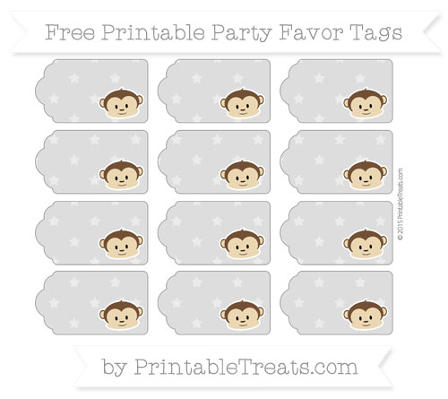Free Pastel Light Grey Star Pattern Boy Monkey Party Favor Tags