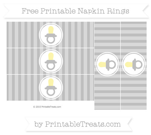 Free Pastel Light Grey Striped Baby Pacifier Napkin Rings