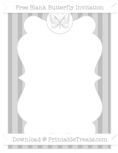 Free Pastel Light Grey Striped Blank Butterfly Invitation