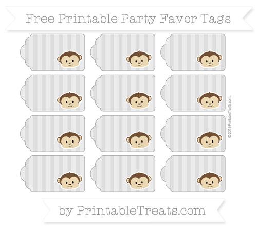 Free Pastel Light Grey Striped Boy Monkey Party Favor Tags