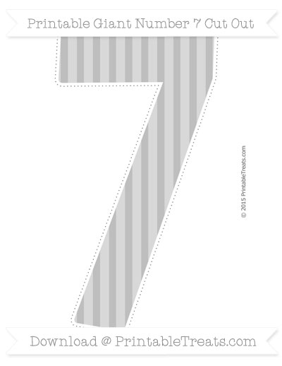 Free Pastel Light Grey Striped Giant Number 7 Cut Out