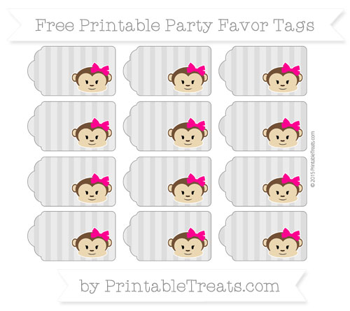 Free Pastel Light Grey Striped Girl Monkey Party Favor Tags