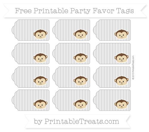 Free Pastel Light Grey Thin Striped Pattern Boy Monkey Party Favor Tags