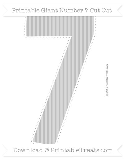 Free Pastel Light Grey Thin Striped Pattern Giant Number 7 Cut Out