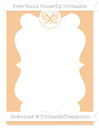 Free Pastel Light Orange Blank Butterfly Invitation
