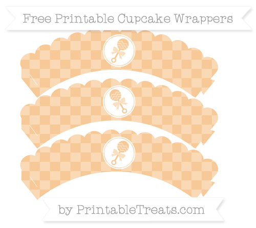 Free Pastel Light Orange Checker Pattern Baby Rattle Scalloped Cupcake Wrappers