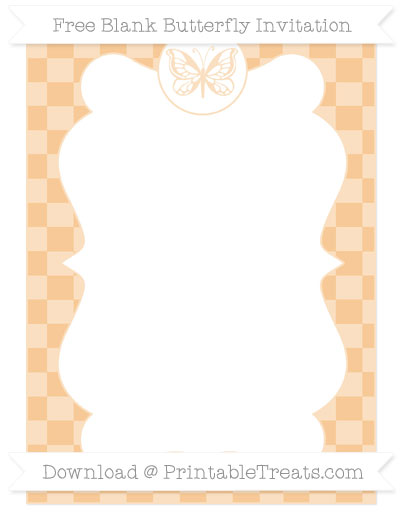 Free Pastel Light Orange Checker Pattern Blank Butterfly Invitation