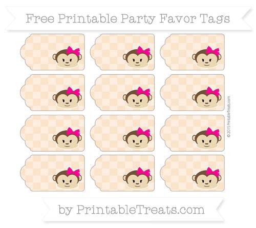 Free Pastel Light Orange Checker Pattern Girl Monkey Party Favor Tags