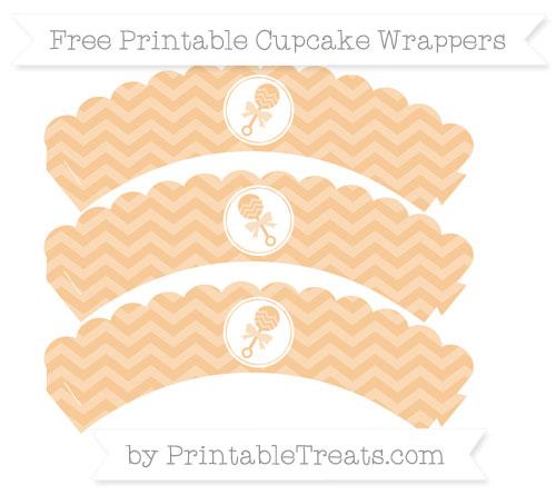 Free Pastel Light Orange Chevron Baby Rattle Scalloped Cupcake Wrappers