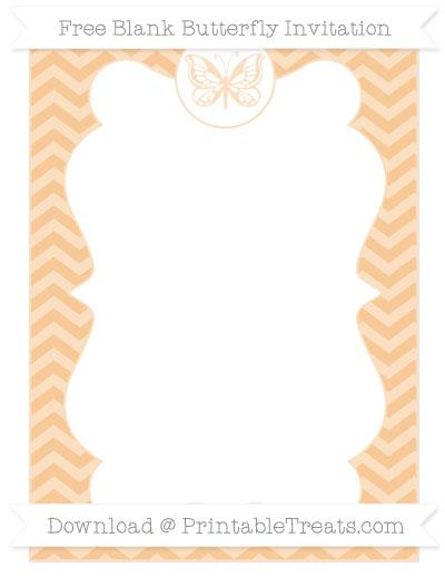 Free Pastel Light Orange Chevron Blank Butterfly Invitation