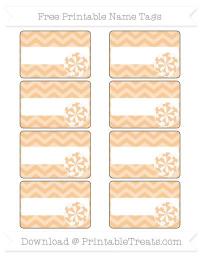 Free Pastel Light Orange Chevron Cheer Pom Pom Tags