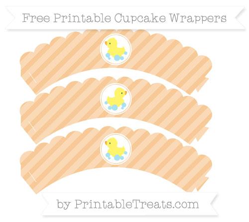Free Pastel Light Orange Diagonal Striped Baby Duck Scalloped Cupcake Wrappers