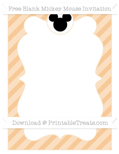 Free Pastel Light Orange Diagonal Striped Blank Mickey Mouse Invitation