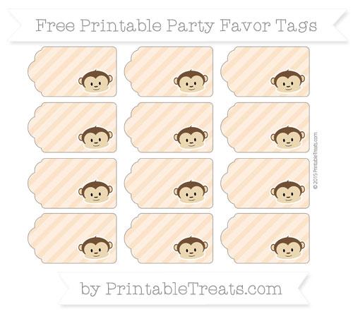 Free Pastel Light Orange Diagonal Striped Boy Monkey Party Favor Tags
