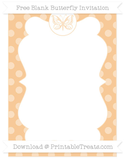 Free Pastel Light Orange Dotted Pattern Blank Butterfly Invitation
