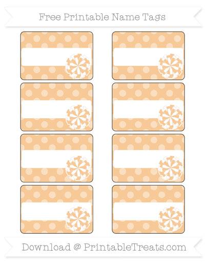 Free Pastel Light Orange Dotted Pattern Cheer Pom Pom Tags
