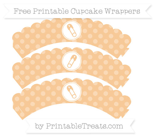 Free Pastel Light Orange Dotted Pattern Diaper Pin Scalloped Cupcake Wrappers