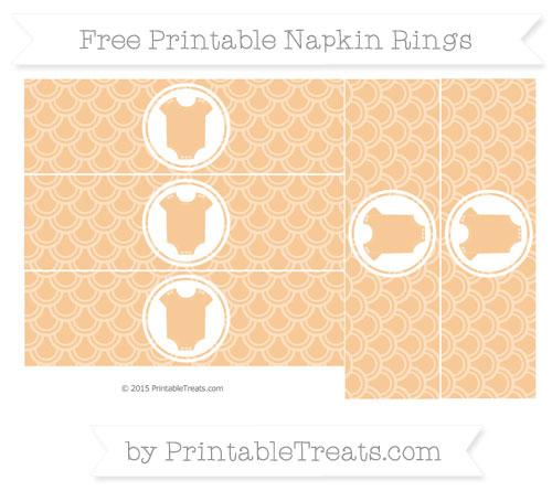 Free Pastel Light Orange Fish Scale Pattern Baby Onesie Napkin Rings